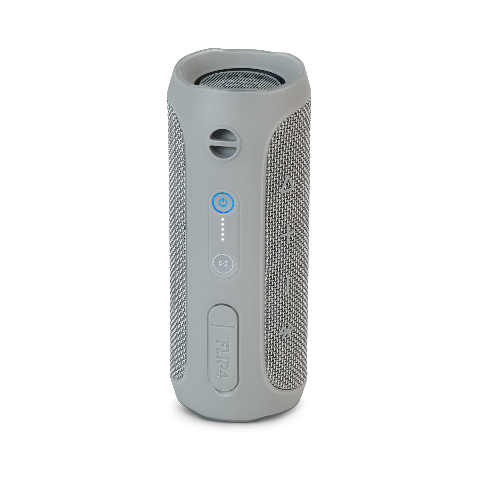 JBL Flip 4 - Grey - A full-featured waterproof portable Bluetooth speaker with surprisingly powerful sound. - Back