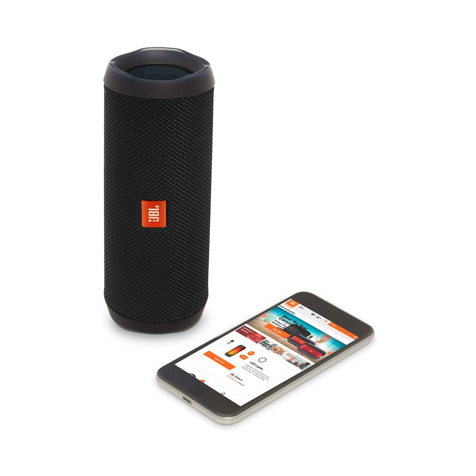 JBL Flip 4 - Black - A full-featured waterproof portable Bluetooth speaker with surprisingly powerful sound. - Detailshot 2